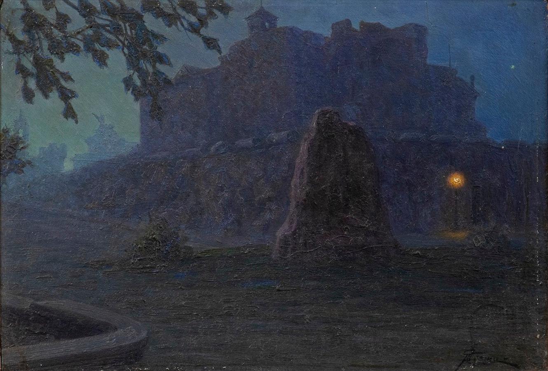 Night - Original Oil on Board by G. B. Crema - 1920s