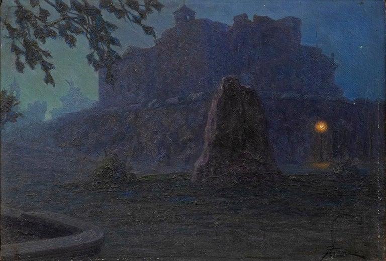 Giovanni Battista Crema Figurative Painting - Night - Original Oil on Board by G. B. Crema - 1920s
