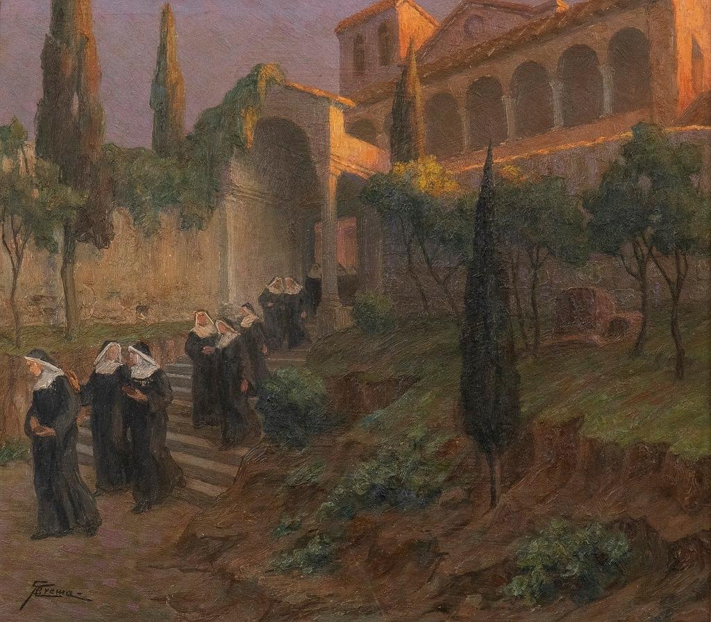 After Vespers - Original Oil on Board by G. B. Crema - 1920s