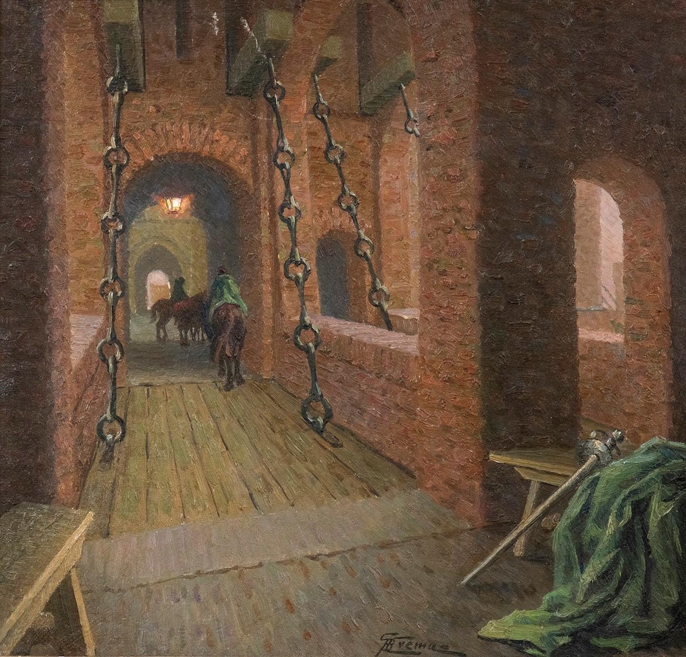 Drawbridge over the Estense Castl - Original Oil on Board by G. B. Crema - 1920s