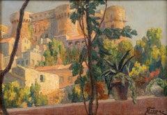 Castle on the Lake of Bracciano - Original Oil on Board by G. B. Crema - 1920s