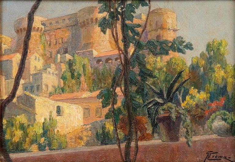 Giovanni Battista Crema Figurative Painting - Castle on the Lake of Bracciano - Original Oil on Board by G. B. Crema - 1920s