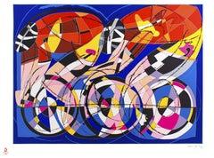 Cyclists - Original Silkscreenn by Ugo Nespolo - 2008