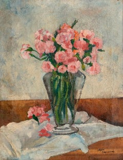 Vase with Flowers - Original Oil on Canvas by A. Cappellini - Mid 1900