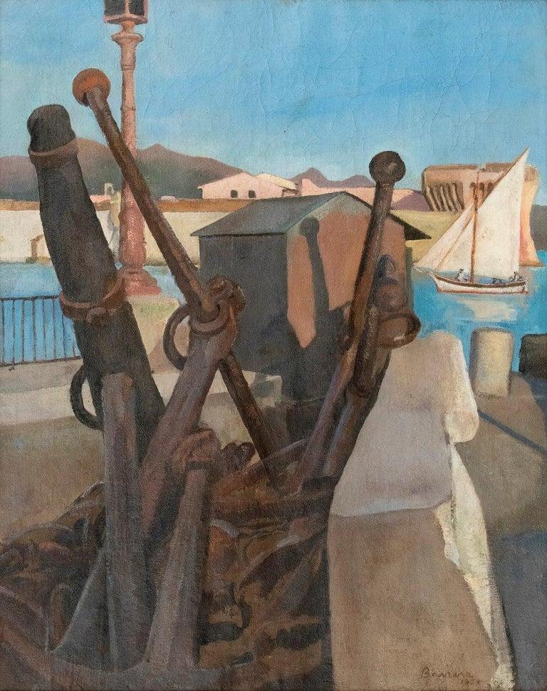 Antonio Barrera Figurative Painting - The Harbour - Oil on Canvas by E. Tani - 1908