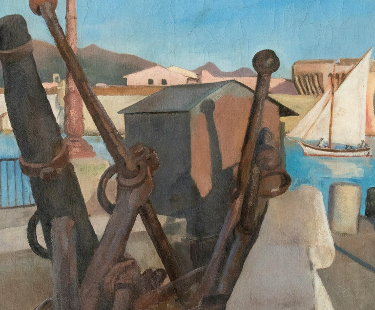 The Harbour - Oil on Canvas by E. Tani - 1908 - Modern Painting by Antonio Barrera