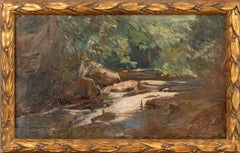 River in the Wood - Original Oil on Panel by A. M. Simonetti - 1890s
