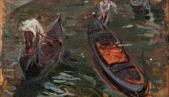 Gondolas - Oil on Panel by A. M. Simonetti - 1890s