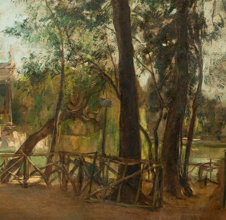Pond of Villa Borghese - Oil on Canvas by A. Barrera - 1945 - Painting by Antonio Barrera