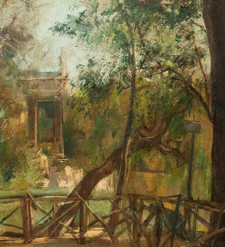 Pond of Villa Borghese - Oil on Canvas by A. Barrera - 1945 - Modern Painting by Antonio Barrera