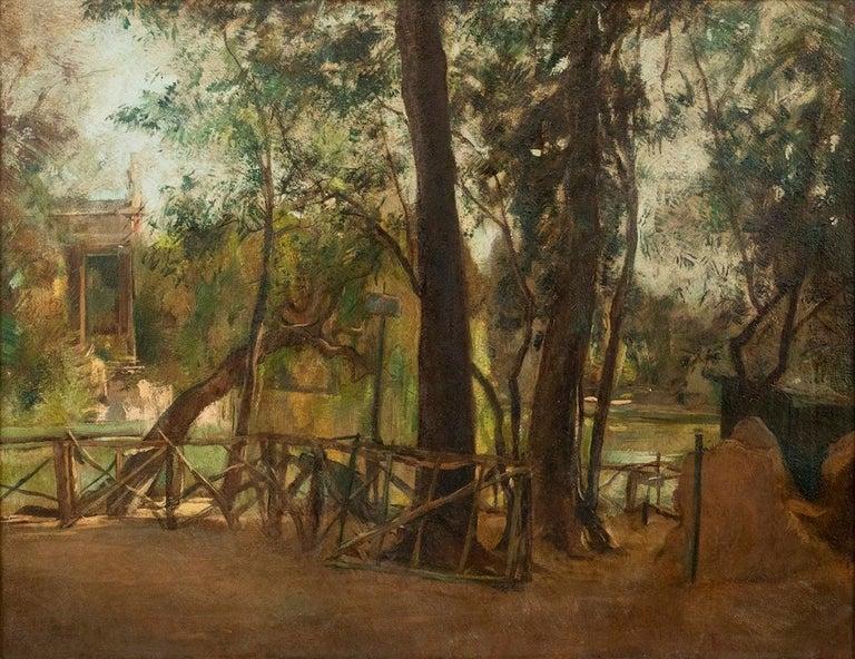 Antonio Barrera Figurative Painting - Pond of Villa Borghese - Oil on Canvas by A. Barrera - 1945