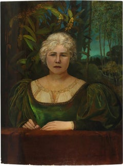 Woman in the Nature - Oil on Panel by E. Gioja - Early 1900