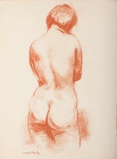 Femme Nue de Dos - Original Lithograph by M. Roche - 1930 ca.