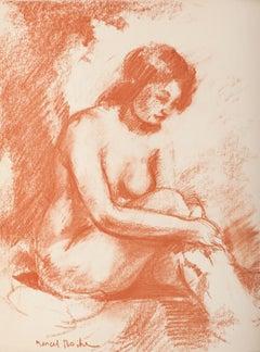 Femme Nue de face se lavant - Original Lithograph by M. Roche - 1930 ca.
