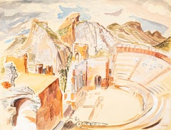 The Ancient Theater - Watercolor on Paper by M.E. Wrede - Mid 20th Century