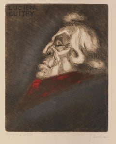 Portrait of Lucien Guitry - Etching on Paper by Jean Auscher - Mid 20th Century