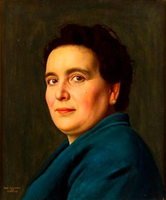 Female Portrait - Original Oil on Board by Ugo Celada da Virgilio - 1950s
