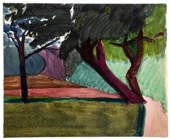 Peaceful Landscape - Original Watercolor by Jean Chapin - 1917