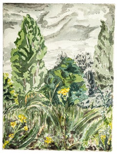 Green Landscape - Original Watercolor by Jean Chapin - 1920s