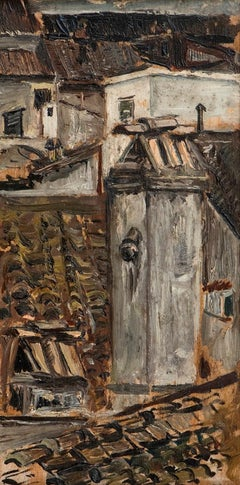 Roofs - Oil on Panel by Virgilio Simonetti - Mid 1900
