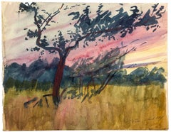 Sunset Landscape - Watercolor on cardboard by French Master - 1917