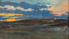 Sunset Landscape - Original Oil on Panel by A. Momo Simonetti - 1890s