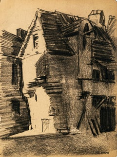 The Village - Original Charcoal Drawing by Jean Chapin - Early 1900