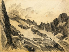 Mountaint - Original Charcoal Drawing by Jean Chapin - Early 1900