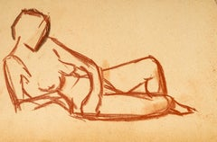 Lying Down Nude - Original Red Chalk Drawing by French Master Early 20th Century