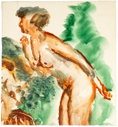 Reclined Nude - China Ink and Watercolor Drawing by Jean Chapin - Early 1900