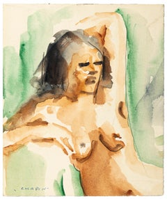 Nude - China Ink and Watercolor Drawing by Jean Chapin - Early 1900