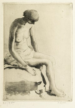 Pensive Nude - Etching and Aquatint by Anna Bass - Late 20th Century