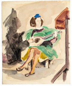 La Guitariste - China Ink and Watercolor Drawing by Jean Chapin - Early 1900