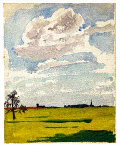 Countryside - Watercolor Drawing by Jean Chapin - Early 1900