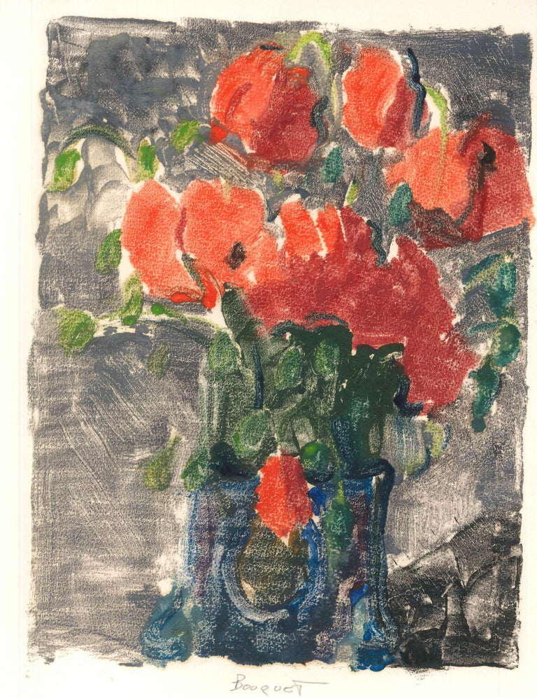 Bouquet is an original monotype on cream paper, representing a colorful still life, made by Denise Bonvallet Philippon.  Very good conditions.  Denise Bonvallet Philippon (1906 -1994) is a French contemporary artist, well-known for her colorful