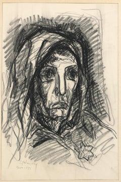 Portrait - Original Charcoal Drawing by Serge Fotinsky - 1943