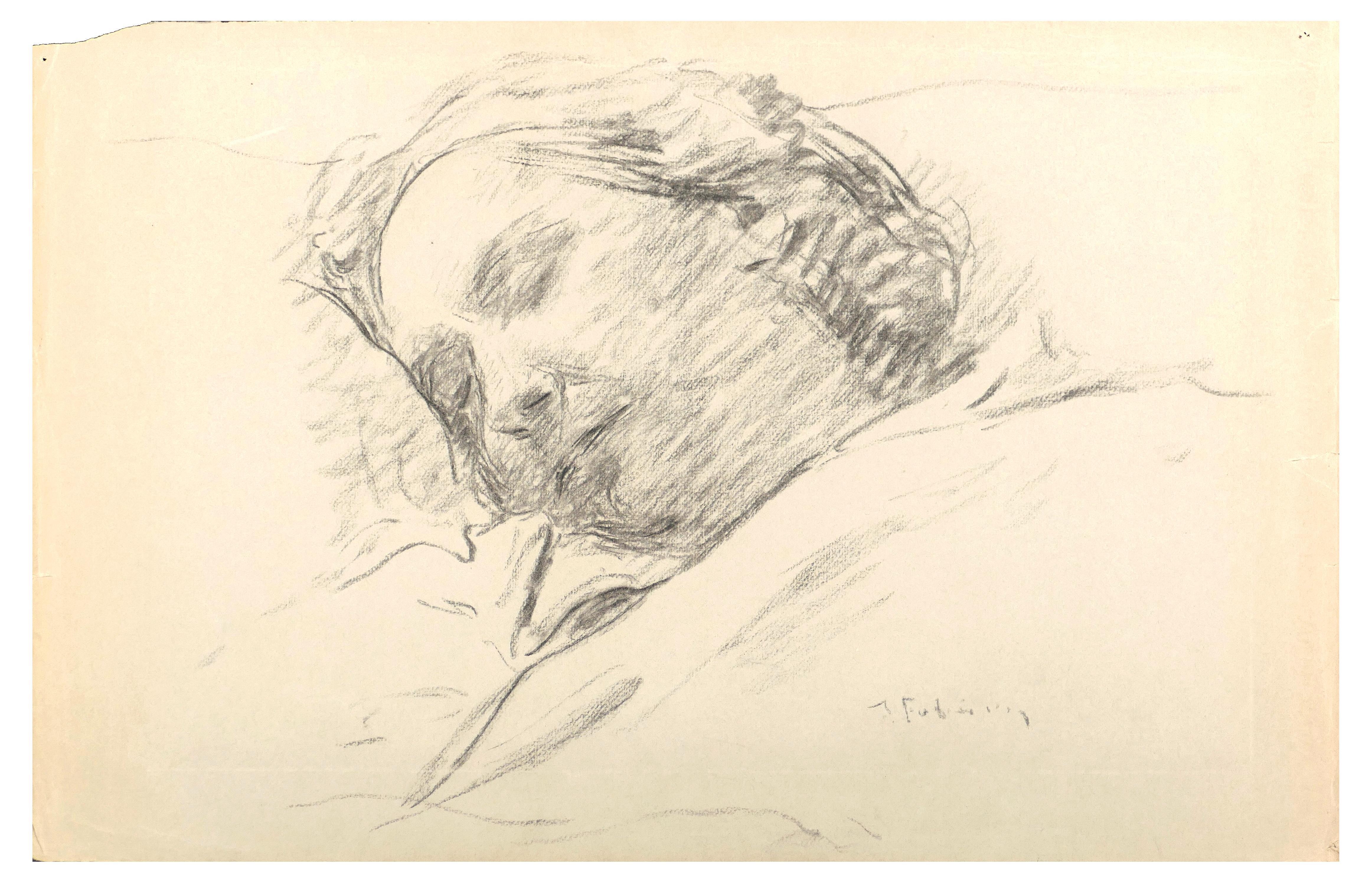 Sleeping Woman - Original Charcoal Drawing by Serge Fontinsky - 1940s