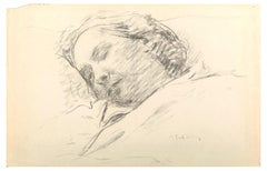 Sleeping Woman - Original Charcoal Drawing by Serge Fontinsky - 1940s