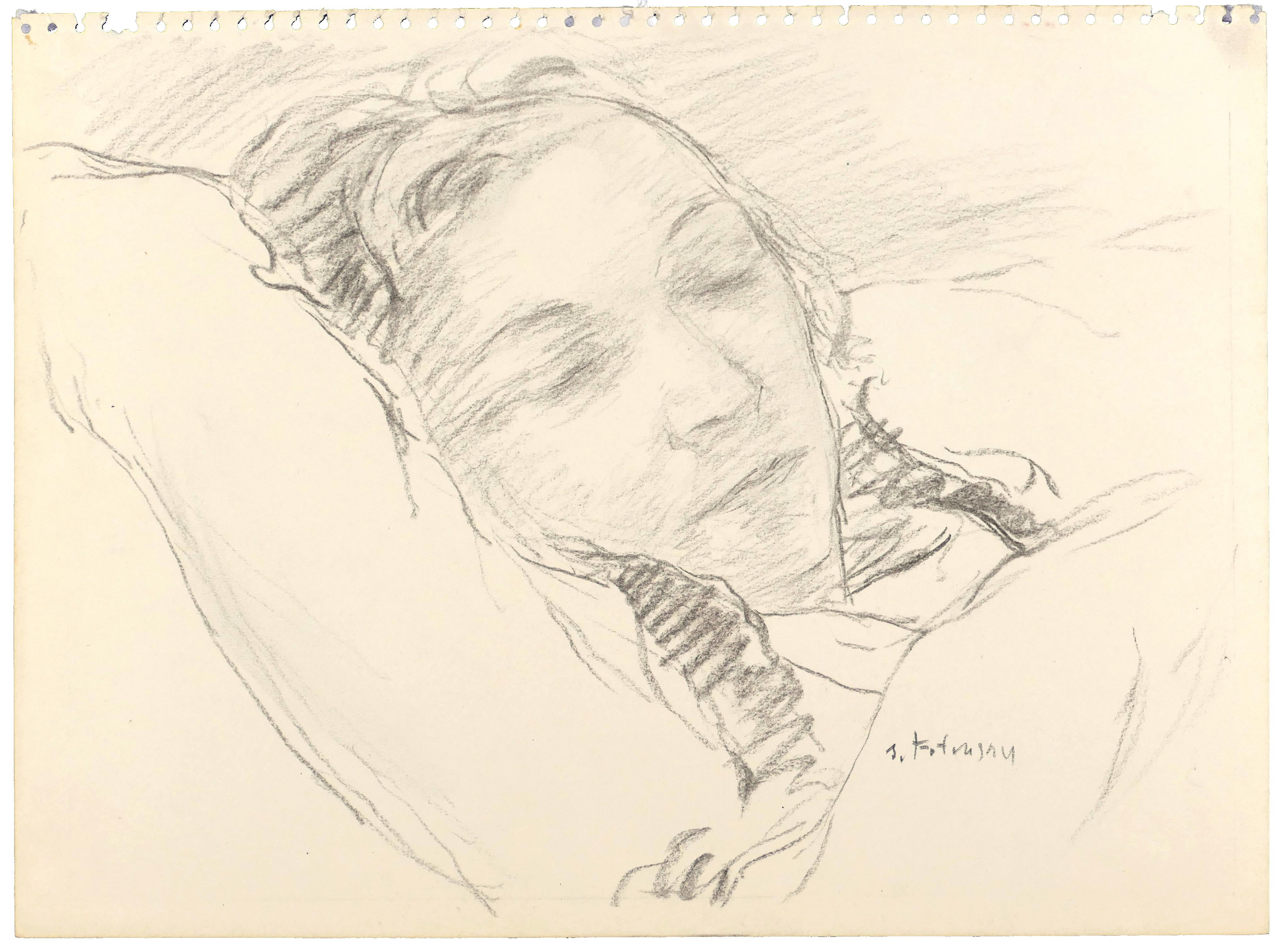 Sleeping Girl - Charcoal Drawing and watercolor by S. Fontinsky - 1940s