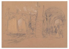 Ship and Arcade - Mixed Media on Paper by A. Koopman - Late 19th Century