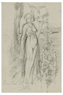 Eden - Original pencil drawing by Max Théron - Early 1900