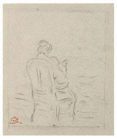 Sitting Woman - China Charcoal Drawing by A.-F. Cals - Late 19th Century
