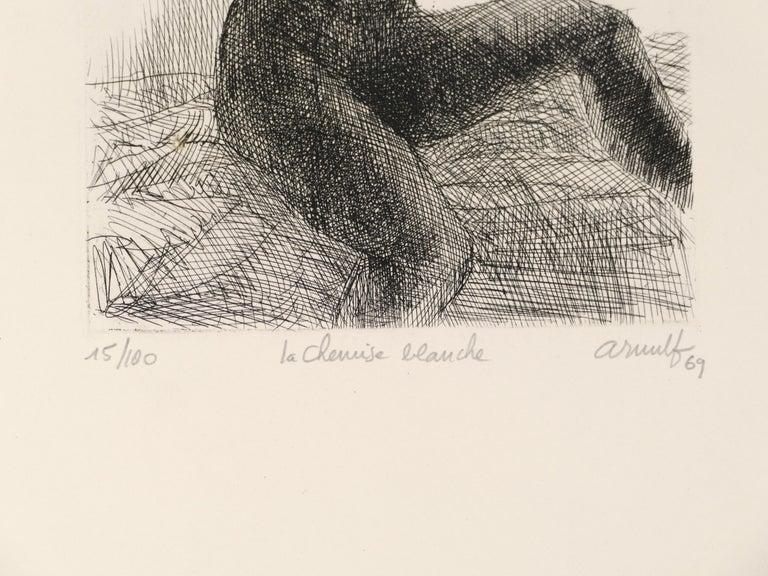 La Chemise Blanche - Original B/W Etching by G. Arnulf - 1969 - Print by Georges Gaston Arnulf
