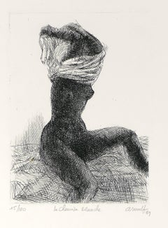 La Chemise Blanche - Original B/W Etching by G. Arnulf - 1969