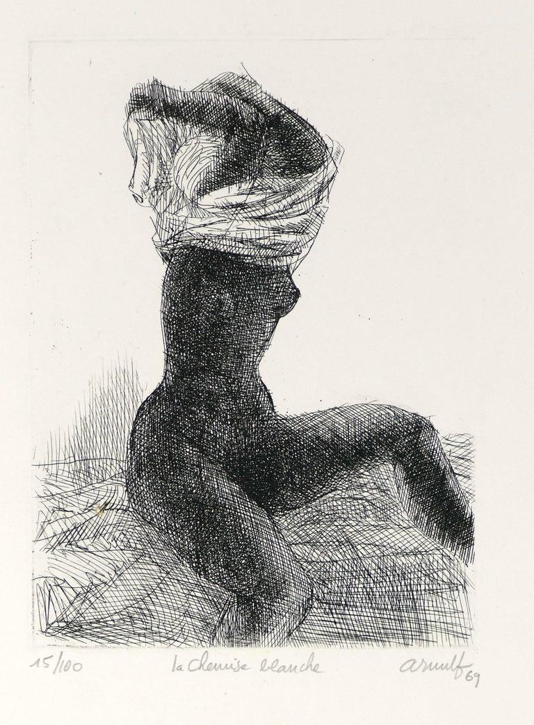 Georges Gaston Arnulf Nude Print - La Chemise Blanche - Original B/W Etching by G. Arnulf - 1969