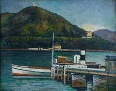 Jetty on the Lake Iseo - Original Oil on Board by P. Marussig - 1928/30