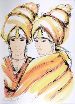Oriental Women - Original Hand-Colored Lithograph by A. Quarto - 1985