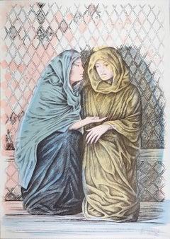 The Offer - Original Hand-Colored Lithograph by A. Quarto - 1985
