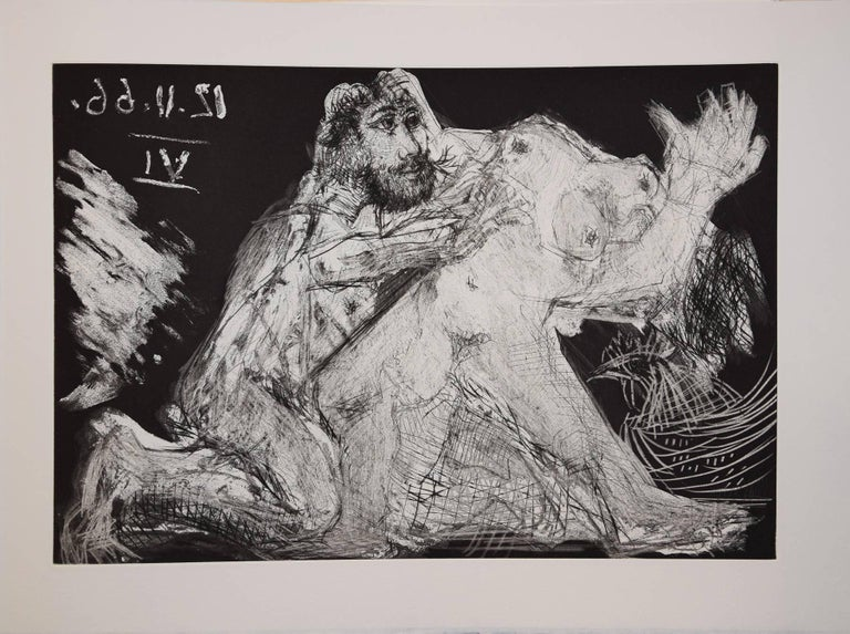 In-folio Oblong Dimensions : 29x39 cm.  Paris Atelier Crommelynck 1968  Edition of 200 copies including 12 original out-of-text etchings (7 etchings, 4 etchings and acquatint and 1 etching, dry-point and acquatint) by Pablo Picasso. Signed in pencil