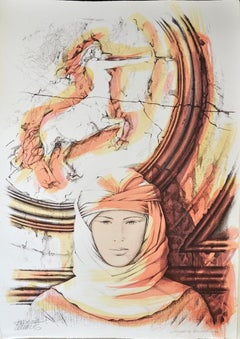 Sagittarius - Original Hand-Colored Lithograph by A. Quarto - 1985